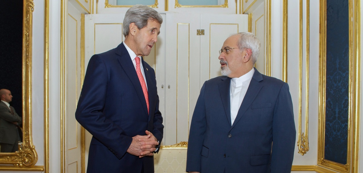 U.S. Secretary of State John Kerry stands with Foreign Minister Javad Zarif of Iran in Vienna, Austria, on November 23, 2014, before the two begin a one-on-one meeting amid broader negotiations about the future of Iran's nuclear program. (State Department photo.)