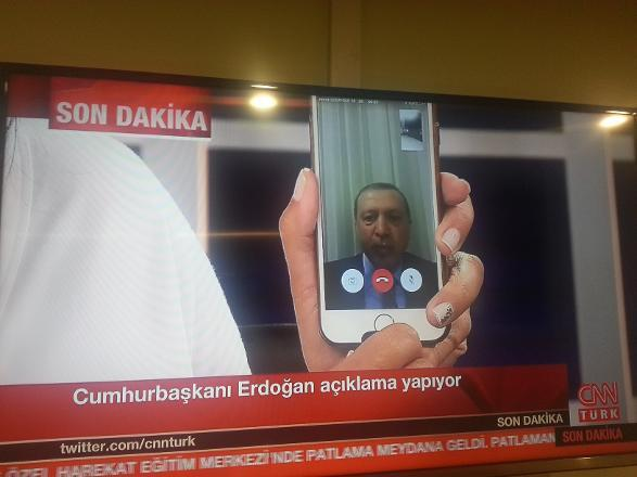 "Ironically, Erdogan used the very same technology he prohibited before to reach his followers and to urge them to ""defend democracy"" by engaging in street protests. Photograph: http://www.cumhuriyet.com.tr/"