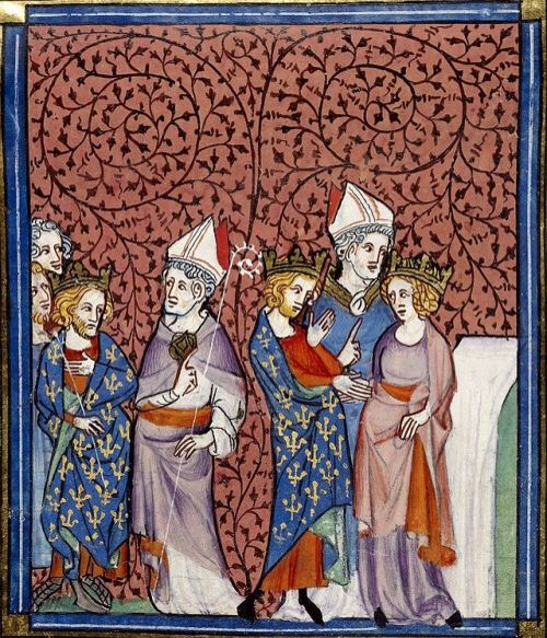 "Henry I and Anne of Kyiv. Miniature in ""Chroniques de France ou de St. Denis."" Source: Wikimedia Commons."